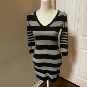 H&M | Black & Gray Stripe Mini Dress (XS)